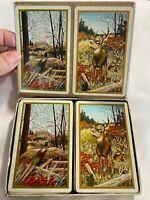 Duratone Plastic Coated Playing Cards Vintage Hunting Wildlife  Deer Pheasant
