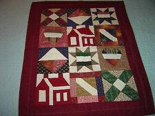 "AMERICANA HEART & HOME BURGANDY  WALLHANGING QUILT 19""- 23"""