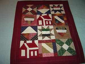 """AMERICANA HEART & HOME BURGANDY  WALLHANGING QUILT 19""""- 23"""""""