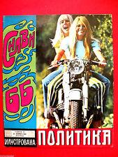 BRIGITTE BARDOT SYLVIE VARTAN COVER 1968 MEGA  RARE  EXYU CYRILLIC MAGAZINE