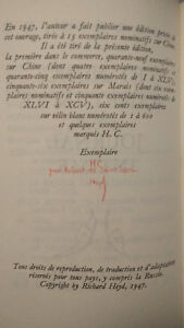 André GIDE - Edition HorsCommerce nominative / 1ère édition publique