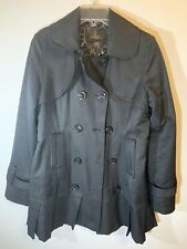 Womens GUESS Trench Pea Coat Rain Jacket Black Double Breasted Button Up Medium