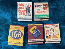 Vintage Matchbook Matches IGA Hobo Joe Mennen Shave 7 up Pop Spic Span Cleaner