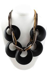 Pono Womens Two Tone Statement Necklace Black
