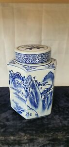 Vintage Ceramic Japanese Or Chinese Blue And White Tea Caddy