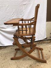 Mechanical Vintage Wooden Oak Cane Convertible Baby Rocker & High Chair & Tray