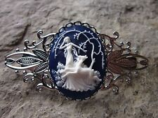 GODDESS DIANA THE HUNTRESS CAMEO SILVER FILIGREE BARRETTE - DEER - DK BLUE