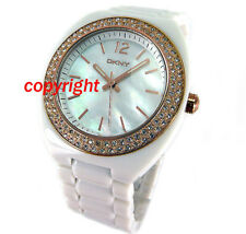 DKNY LADIES WATCH MOTHER OF PEARL DIAL ROSE GOLD STEEL WHITE ACRYLIC NY8096