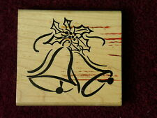 Used Denami 2001 Bells Holly Berries Brass Christmas Tree Decorated Rubber Stamp