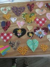 30 Vintage Fabric Hearts Cut-outs craft sewing quilts scrapebooking love hearts