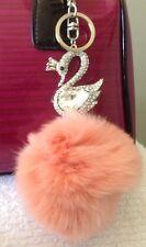 Crystal Swan With Real Rabbit Fur Ball Key Chain Purse Charm Keychain