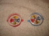 2 Vintage 1960s Plastic Toy Compass Novelty Japan