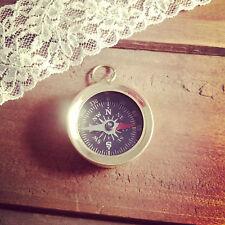 Vintage Style Mini Compass Pendant Black Face Charm, Shiny Gold Brass
