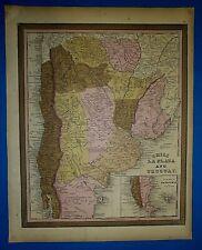 1849 Mitchell New Universal Atlas Map ~ CHILI - LA PLATE - URUGUAY Old Authentic