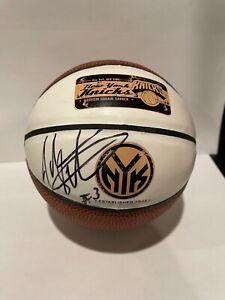 John Starks #3 Autographed Mini NY Knicks Basketball