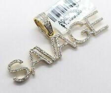 Real 10K Yellow Gold Genuine Natural Diamonds SAVAGE Name Plate Pendant Charm