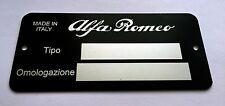 Plaque constructeur Alfa Romeo-Alfa Romeo typenschild-Alfa Romeo vin plate