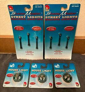 NEW Life-Like Scene Master HO Scale Street Lights (1254) & House Lights (1205)