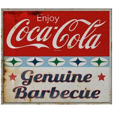 Enjoy Coca-Cola Genuine Barbecue Decal 1960s Roadside Style Grunge 24 x 21