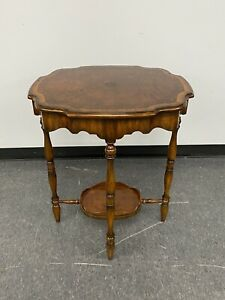 Maitland Smith Laurel Burl Finished Mahogany Occasional Two Tier Side Table