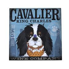 Cavalier King Charles Spaniel Wrapped Canvas Panel - Wine Company Dog Print