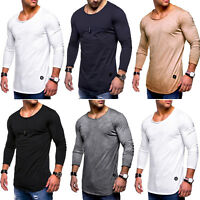 Mens Plain Slim Fit Long Sleeve Muscle T-Shirt Casual Round Neck Tops Tee Shirt