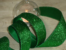 Christmas Wired Bright Emerald Green Glitter Sparkly Wired Ribbon 1m