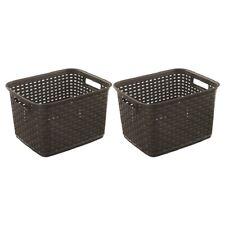 Sterilite 1273 Tall Weave Basket Storage Bin Wicker Look Plastic Espresso 2-Pack
