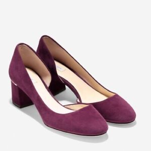 Cole Haan Women 8.5 Laree Grand Pump Fig (red) Suede Leather Heels Block NEW
