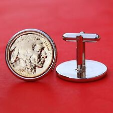 US 1936 Gold Plated Indian Head Buffalo Nickel Coins Silver Plated Cufflinks NEW