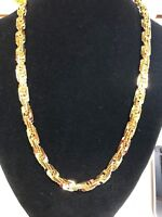 """Mens 14K Yellow Gold Plated 8mm BOX Rope Chain Necklace 24"""""""