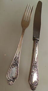 vintage antique 0.875 Russian USSR soviet solid silver  knife and fork