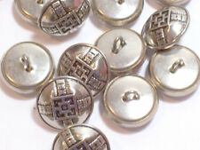 Silver Buttons, Silvertone Metal Buttons 11/16 inch(17 mm) diameter x 25 pieces