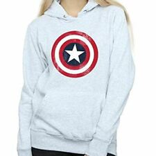 Marvel Womens Captain America Distressed Shield Hoodie Grey Official  XS
