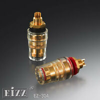 2Pairs 24K Gold Plated Brass Speaker Audio Power Amplifier Terminal Binding Post