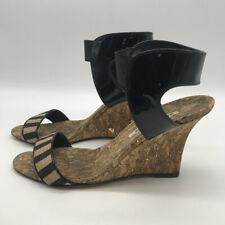 Manolo Blahnik Black & Tan Ankle Strap Wedges Size 10.5