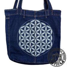 S07. FLOWER OF LIFE Jeans Denim Shopping Bag Marionelli Tasche  Stofftasche