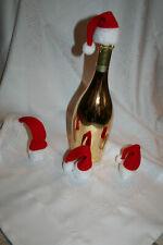 4 x Weinflaschendeko Flaschendeko Weihnachtsmütze Flaschen Nikolaus Wichteln