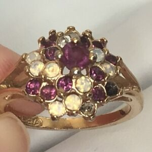 18k gold Plated Ring Amethyst Opal Size 8 Vintage Cocktail Moghul