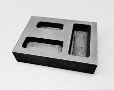 GRAPHITE INGOT MOLD for BARS 3 POCKETS 1/4 1/2 & 1oz CAPACITY MELTING SCRAP GOLD