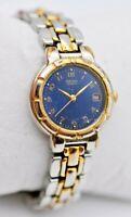 Ladies SEIKO Two-Tone Bracelet Dress Watch, Blue Dial 7N82-6B79 (Broken Clasp)