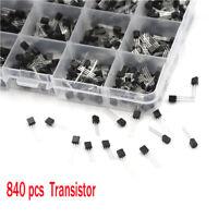 840x 24 types Kit de Composants de Transistors de Puissance avec Boîte NPN PNP