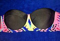 NEW SWIMSUIT BIKINI TOP BUSTIER PUSH UP PADS UNDERWIRE BLACK yellow blue pink M