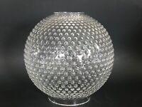 "Vintage GWTW 8"" Clear Hobnail Hurricane Oil Round Ball Glass Lamp Shade"