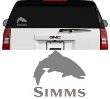 Simms Fishing Outdoor Sports Trout Vinyl Decal Sticker Window Cooler Truck Gray