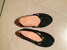 Wittner black leather suede flat shoes
