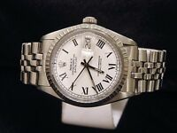 Rolex Datejust Mens Stainless Steel Jubilee Watch White & Black Roman Dial 1603