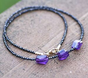Natural Amethyst and Black Spinel Necklace 14K Gold Filled 6th 22nd Anniversary