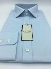 Savile Row Mens Navy White Micro Check Twill Classic Fit Button-Down Shirt Barrel Cuff