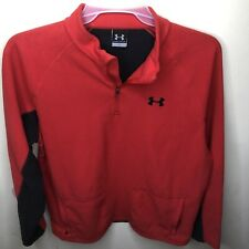 Mens Under Armour Red 1/4 Zip Fleece Coldgear Pullover Size Large